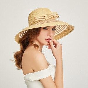 Image 2 - 2019 New Style Women Summer Beach Hat Bow knot Accent Ladies Striped Wide Brim Floppy Sun Hat  Kentucky Derby Paper Straw Hat