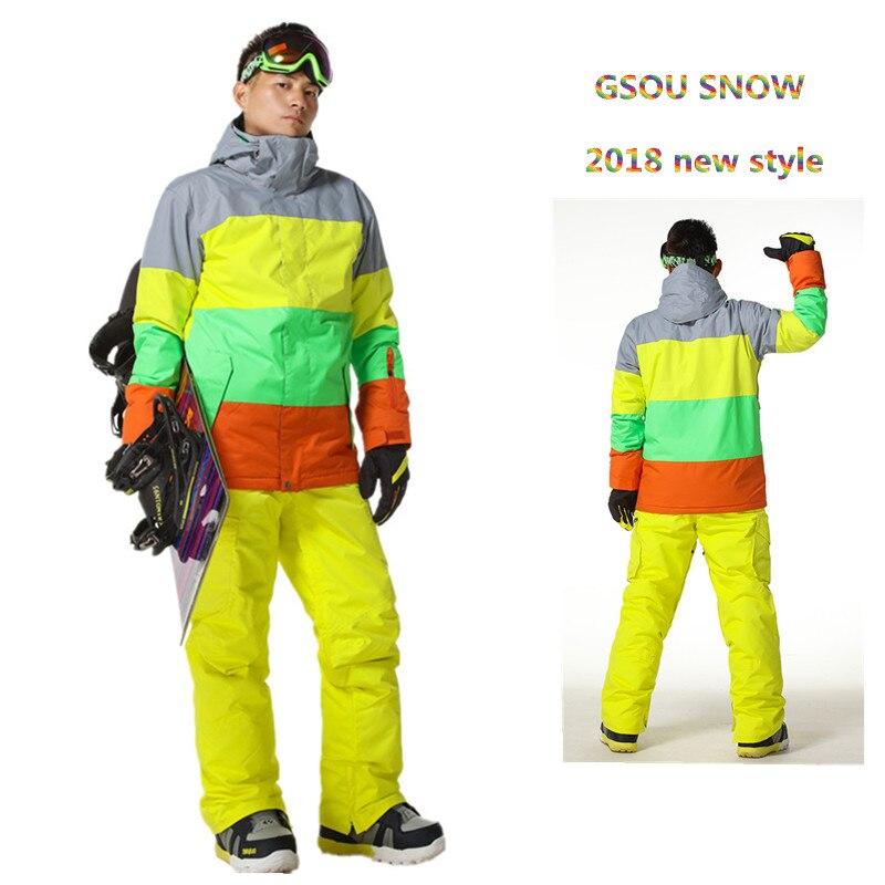 Gsou Snow Brand зима лыжный костюм для мужчин лыжная куртка Водонепроницаемый сноуборд Наборы для ухода за кожей открытый лыжный спорт Сноубордин...