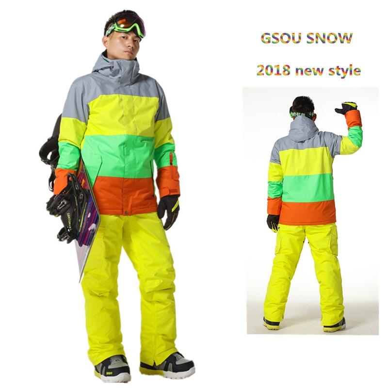 Gsou Snow Brand winter ski suit For men ski jacket Waterproof snowboard Sets outdoor Ski sport Snowboarding suit sports set