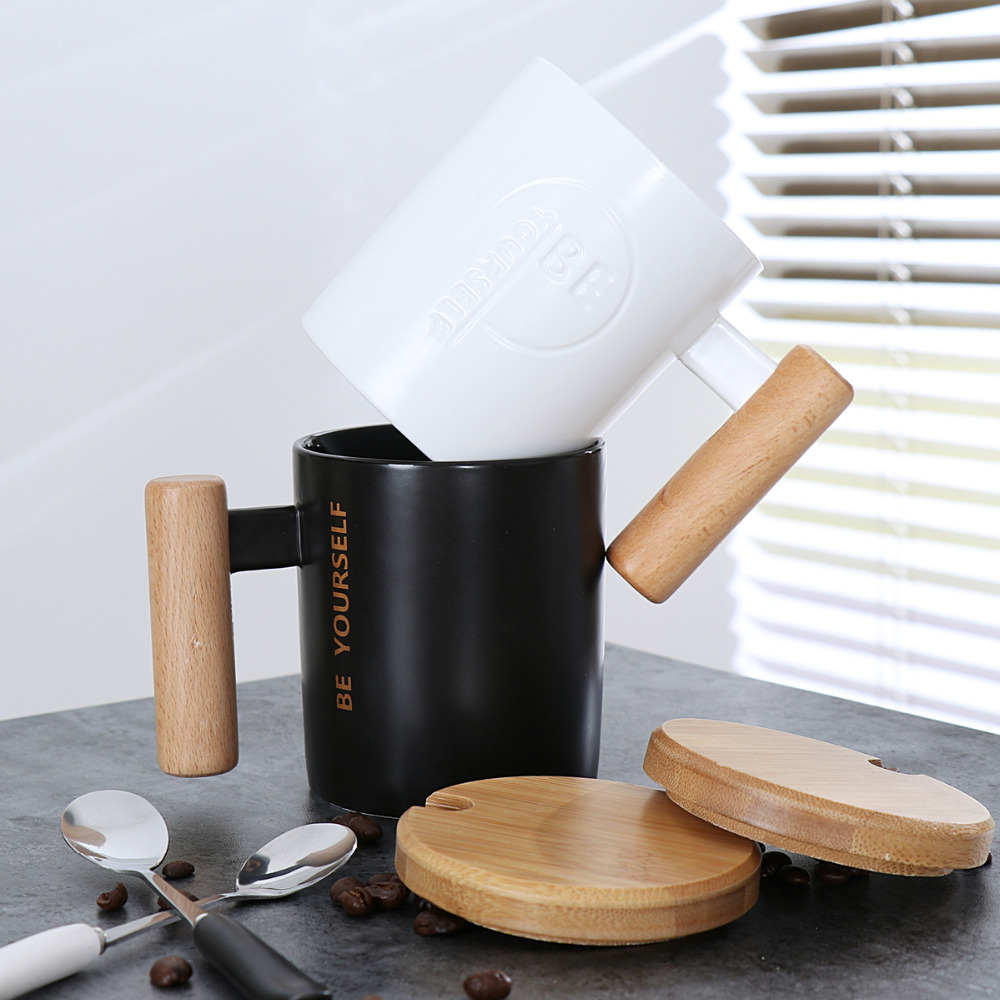 Creative wooden handle simple ceramic mug Daily home ceramic cup with spoon black white cups