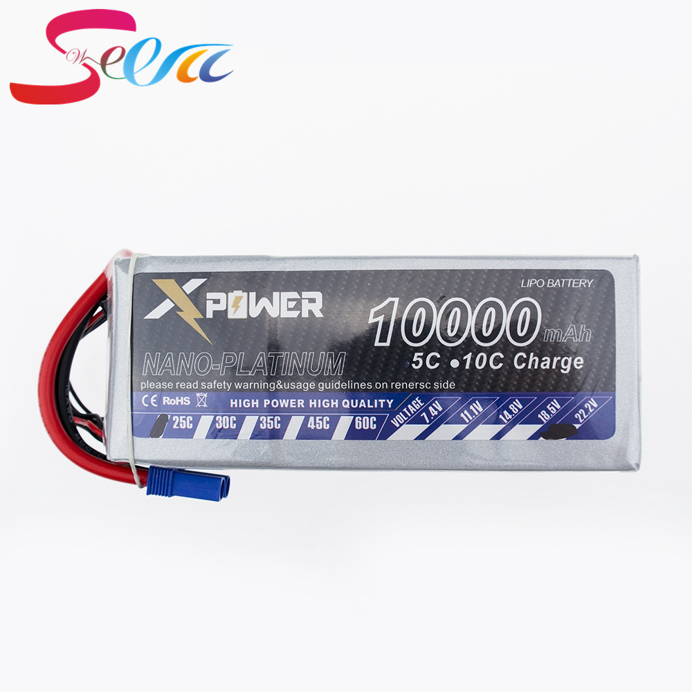 10pcs 10000Mah 22.2V Lithium Lipo Battery EC5 XT90 T XT60 plug For RC Helicopter Qudcopter Drone Truck Car Boat Bateria rechargeable lithium battery lipo 11 1 v 40c 2200mah 3 s xt60 plug for rc helicopter drone qudcopter car lipo with charger