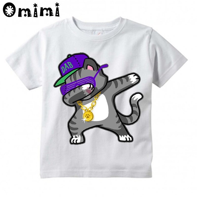 Children Dabbing Unicon/Goku Design Print T-shirts Boy and Girl Dab Animal T Shirt Kid Cartoon Tops