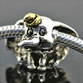 WYBEADS Silver Plated Charm Elephant Charms European Fit Snake Chain Bracelets & Bangles DIY Accessories Jewelry Original Making