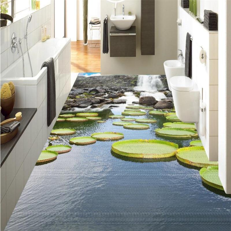 Custom Surface Flooring: Beibehang Large Custom Floor Waterfall Water Surface Lotus