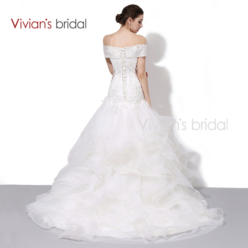Vivian S Bridal Boat Neck Off Shoulder Ruffled Mermaid Wedding Dress Lace Sequin Gown Wd450 2 In Dresses From Weddings Events On