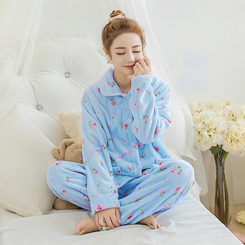 Warm Women Pajama Sleepwear Homewear Set Big Size XXL ...