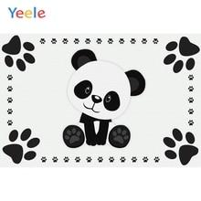 Yeele Panda Party Footprint Photocall Baby Birthday Photography Backgrounds Customized Photographic Backdrops for Photo Studio