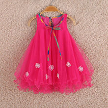 new Kids Girls cute Sleeveless summer rose red belt Floral voile party dress