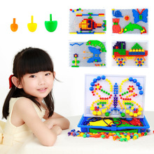 350pcs/set Creative Mosaic Toy Gifts Children Nail Composite Picture Puzzle Creative Mosaic Mushroom Nail Kit Puzzle Toys