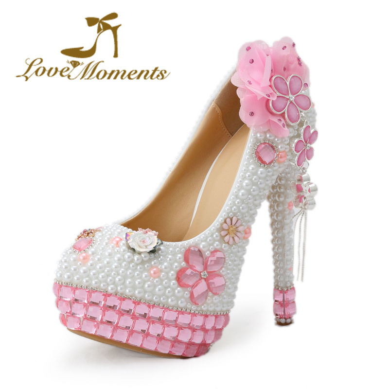 ФОТО Love Moments shoes woman pink high heels bling rhinestone and pearls pink wedding shoes bridal ladies dress party women shoes