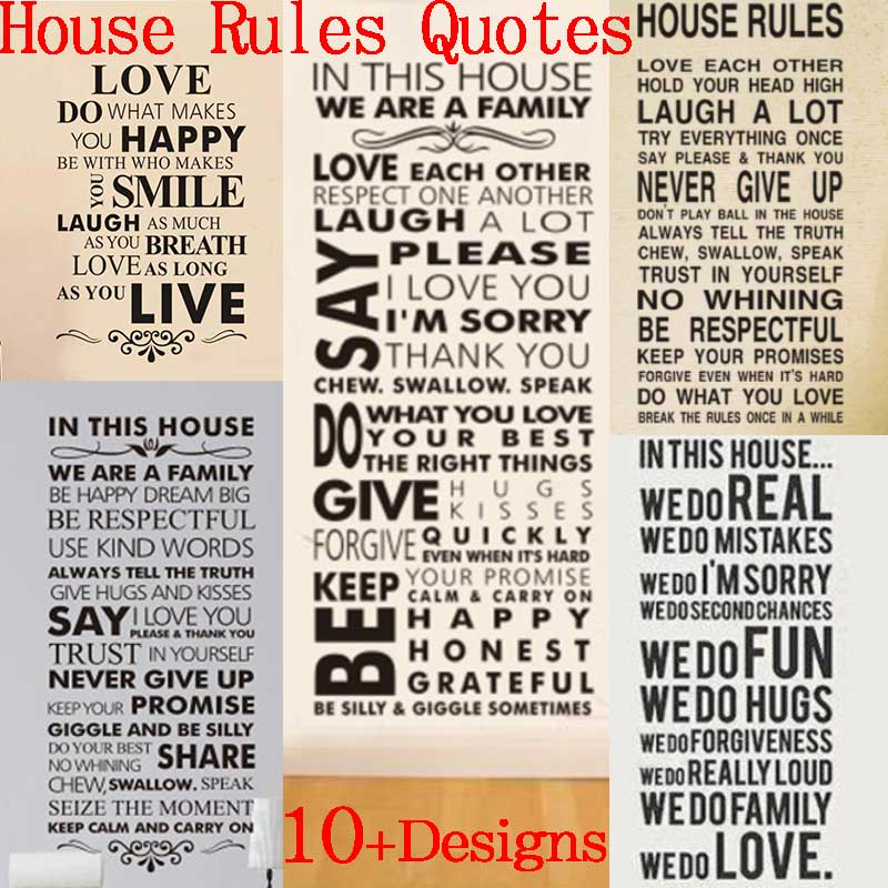in this house rules wall stickers family room decoration 8085. diy vinyl adesivo de parede home decal print mural art poster 4.0