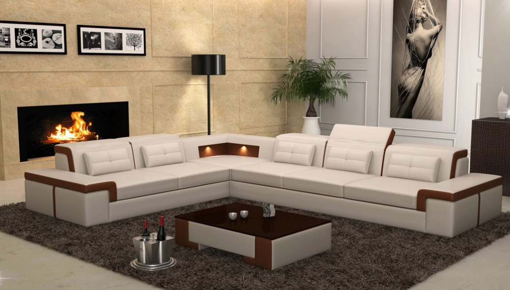 3 piece white leather sofa set reclining sofas at macys new design corner with led light sofa-in living ...