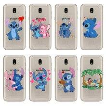 funny Stitch Emoji Case For Coque Samsung Galaxy J3 J5 J7 2017EU soft TPU J6 J8 2018 High quality clear silicone Cover
