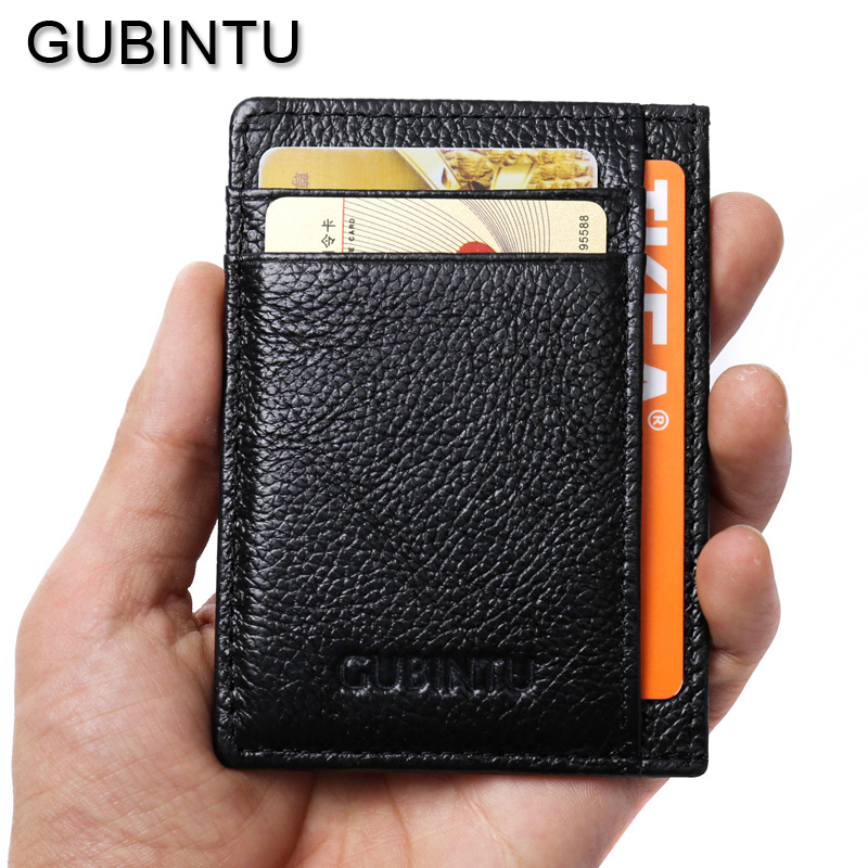 GUBINTU Solid Male Bank Credit Card Wallet Men Soft Card Package Real Cow Leather Coin Pocket Short Purse Slim Cards Cover Case