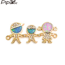 Pipitree 2019 New Pink Blue Fire Opal Charm Copper CZ Zircon DIY Dad Mom Boy Family Charms for Bracelet Pendant Jewelry Making(China)
