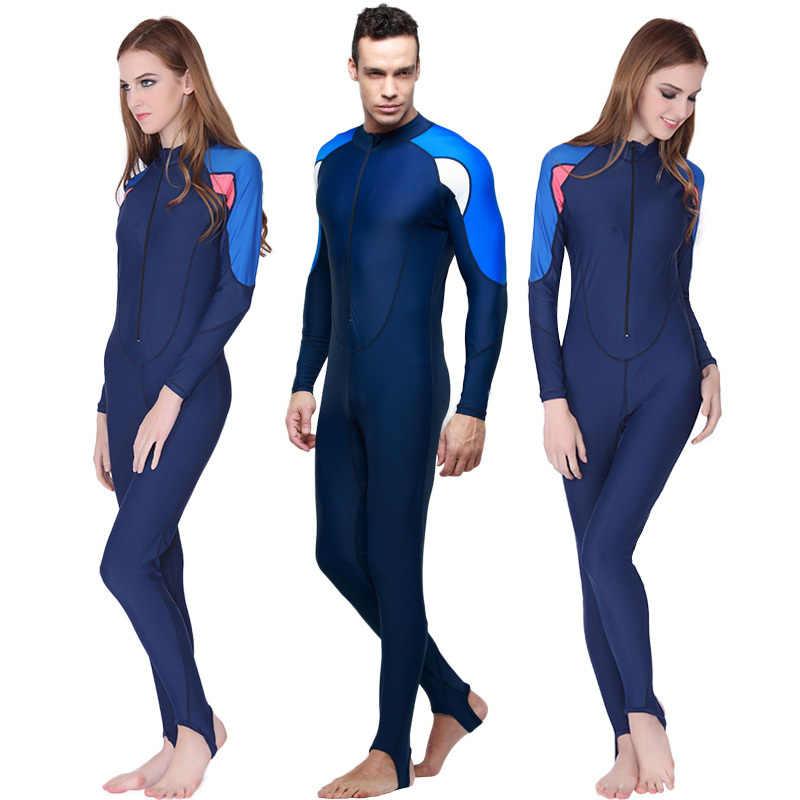 Lengan panjang Dengan Topi UV Penuh Tubuh Swimsuit Untuk Wanita Diving Wetsuit, Rashguard Snorkeling Penuh Tubuh Swimwear