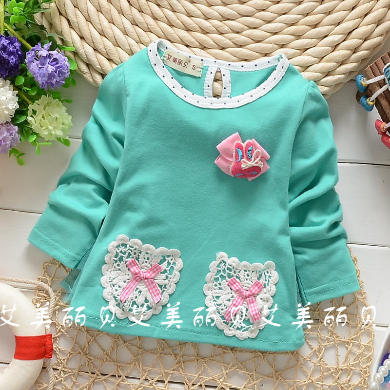 Children's clothing 2016 spring Autumn Korean girls shirt bow lace pocket long sleeve blouse