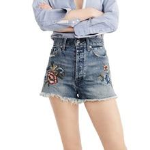 2017 летние шорты случайные вышитые джинсы женщина высокой талией джинсы тонкий джинсовые шорты женская одежда