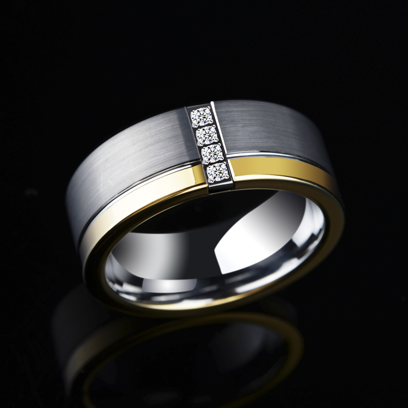 New Design 8mm Width Silver Gold Two Tones Tungsten Carbide Ring for Man with 4PCS Cubic