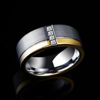Новый Дизайн 8 мм Ширина серебро/золото два тона Вольфрам карбида кольцо для человека с 4 шт. кубический цирконий brused готовой Comfort Fit