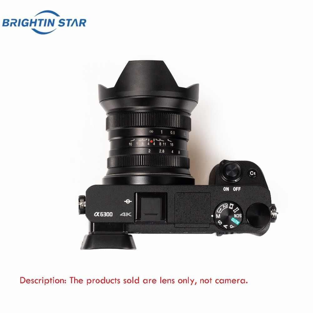 Lente super larga do olho de peixe do ângulo da estrela 12mm f2.0 de brightin para câmeras a6000 a6500 m5 m6 da e-montagem de sony para xt3 xt10 m43 de fuji fx