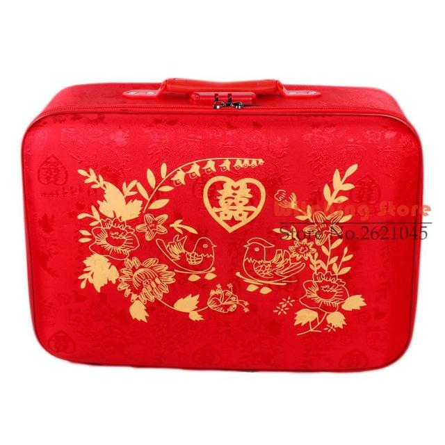 22 INCH  20222426# Red cloth bride dowry and suitcase password gift box tide wedding #EC FREE SHIPPING