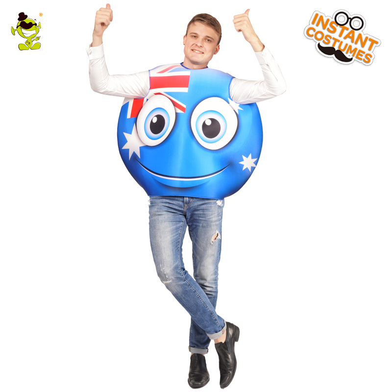 New Arrival National Flag Emoji Smiling Face Jumpsuit Cosplay Unisex Emoji Emoticon  Adult Party Costume