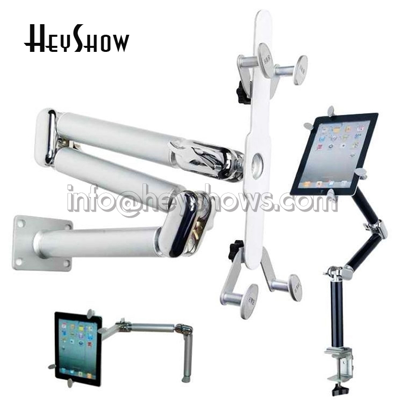 Multifunction Foldable Tablet Holder Clamp Aluminum Alloy Car Stand 360 Rotation Wall Mount Bed Bracket For iPad Air Mini 7-11''