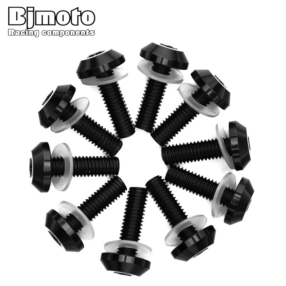 BJMOTO Universal 10pcs Motorcycle CNC Aluminium M6 6MM Body Fairing Bolts Fastener Clips Screw Sportbike Set