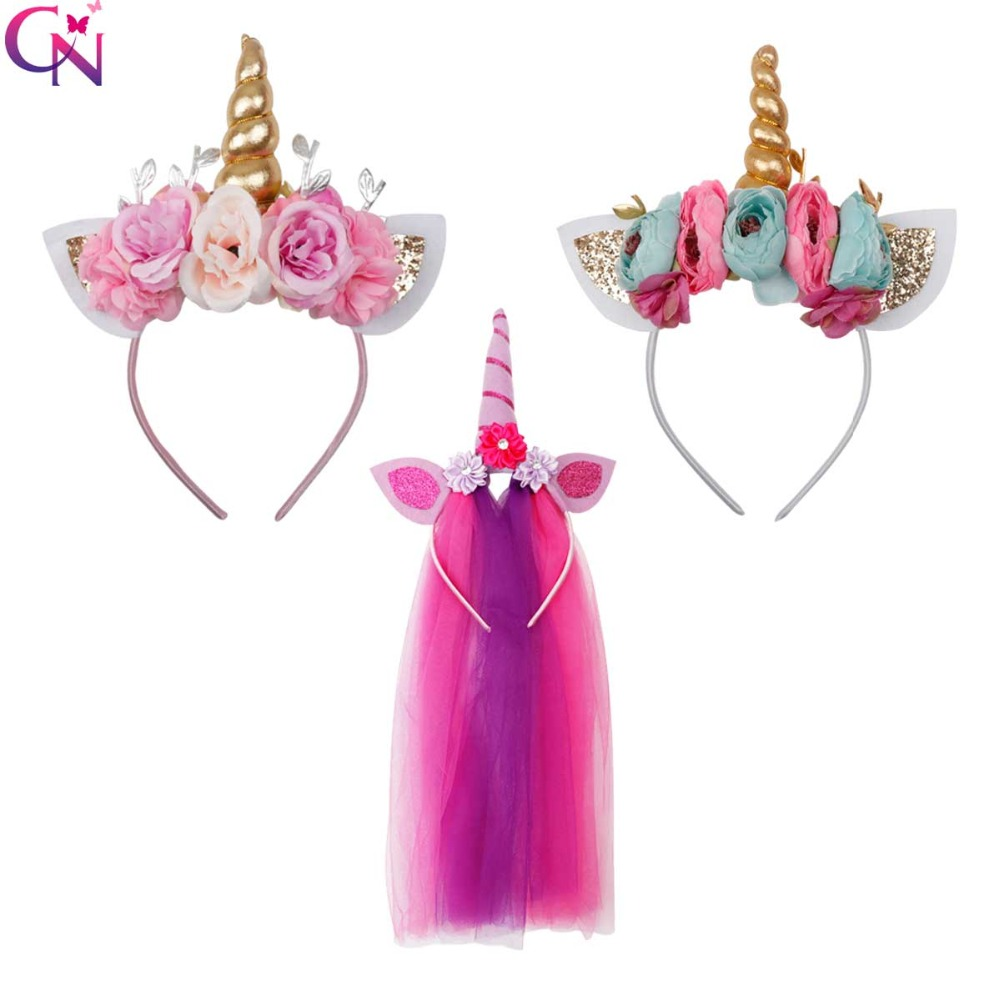 CN Hair Accessories Unicorn Horn Hairband For Girls Kid Children Birthday Party Gift Rainbow Glitter Bow Headband Hair Hoop