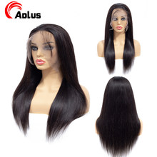Aplus Black Wig Straight 360 Lace Frontal Wig Pre Plucked With Baby Hair Human Full Lace Front Wig Remy Brazilian Hair Wigs(China)