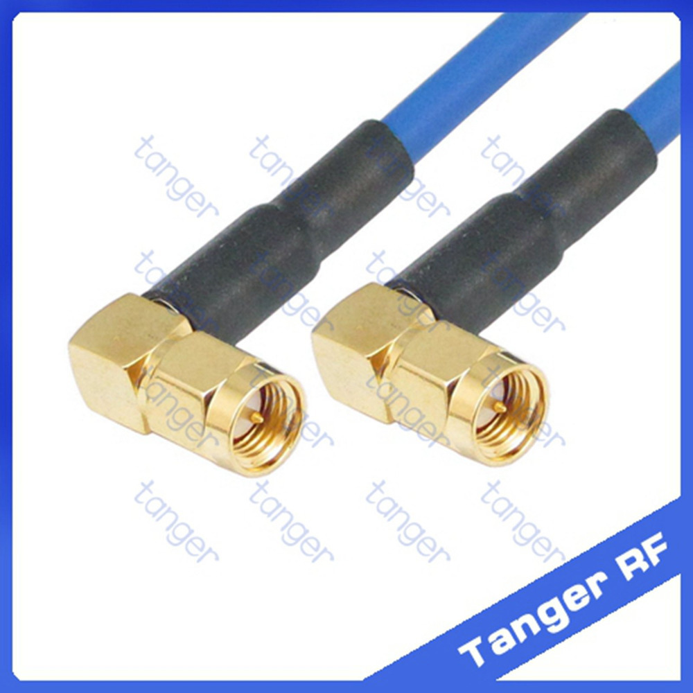 Right angle SMA male to male plug connector both ends with RG402 RG141 RG-402 Coaxial Jumper blue cable 8in 8 20cm RF Low Loss dvb t rf coaxial to mcx tv antenna connector black 22cm cable