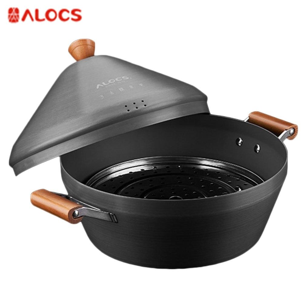 ALOCS CW-C37 Outdoor Camping Pot Large Stream Pot Portable Hot Pot With Wood Handle Travel Pot For 8-10 People alocs 3 5 people outdoor pot camping pot cookware cw tm01