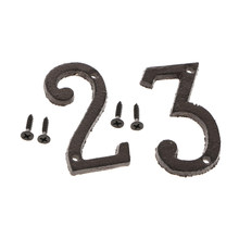 2pcs Cast Iron Metal Door Number Sign Plaque House Garden Name Address Sign Sticker Plate 2 3(China)