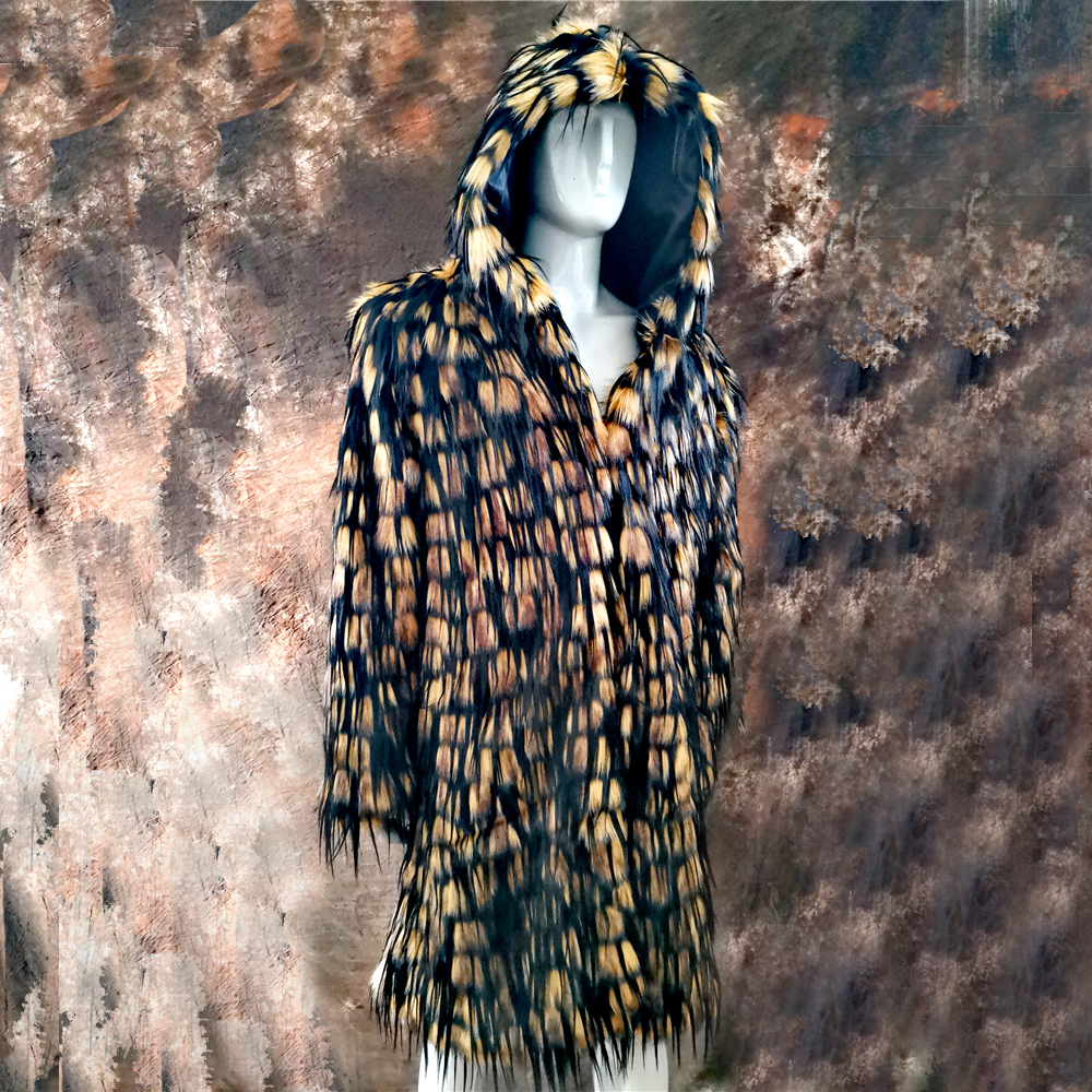 gorąca zima jesień mężczyźni faux futra lisa płaszcz długi wiatrówka luźne ciepłe mody mężczyzna skórzana paw pióro skórzana ku w Płaszcze ze sztucznej skóry od Odzież męska na  Grupa 1
