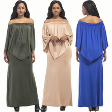 New hot summer fashion personality solid color fat MM loose ruffled high waist casual wide leg sexy female dress autumn new middle east popular solid color loose casual hanging neck loose wide leg large size fat mm sexy ladies dress