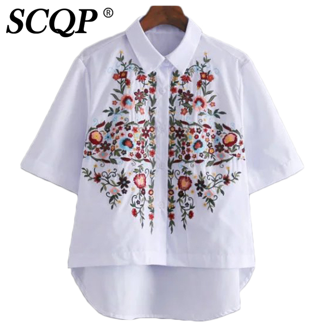 Floral Embroidery Ladies Tops And Blouses 2016 Summer White Short Sleeve Women Shirts Elegant Fashion Ladies Office Shirts