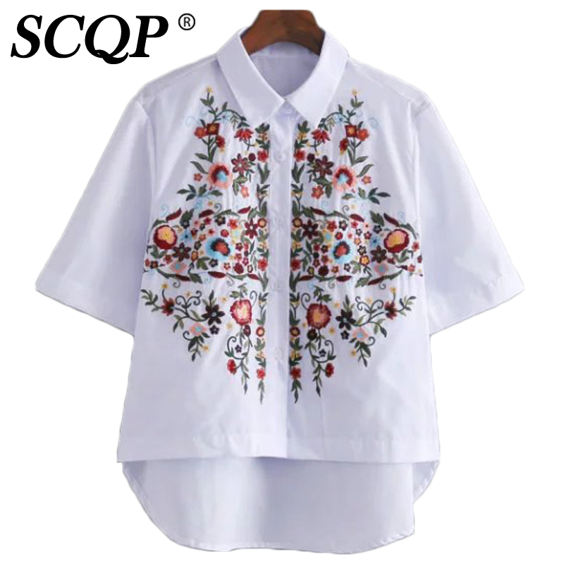 Scqp white floral embroidery ladies tops 2016 summer white for White floral shirt womens