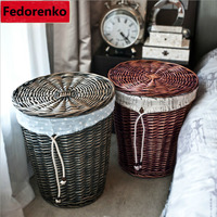 Natural Wicker Laundry Storage Baskets box Home Bathroom Decoration Square small large wicker storage baskets with lids wasmand