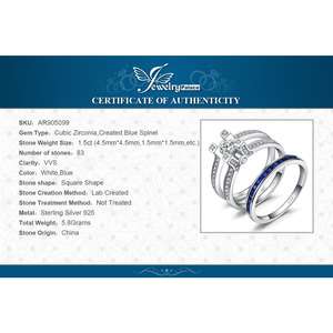 Image 5 - JPalace Created Sapphire CZ Engagement Ring 925 Sterling Silver Rings for Women Wedding Rings Bridal Sets Silver 925 Jewelry