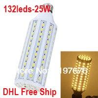 Бесплатная доставка DHL оптовая продажа E27 smd Светодиодная лампа Spotlight 25 Вт 5050 SMD LED 220 В E27 132 LED 5050 360 градусов светодиодные лампы
