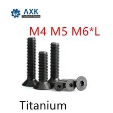 20 шт./лот, M4, M5, M6* L, DIN7991, чистый титан, шестигранная розетка, потайная/плоская головка, винтовые болты, Ti винты GR2