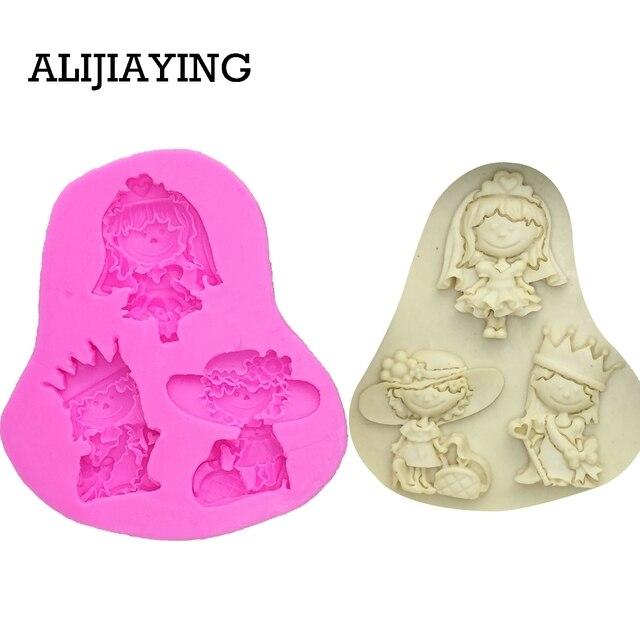 M0119 女の子王女花嫁ケーキデコレーションツール液体 3D シリコンモールド Diy ベーキングアクセサリー