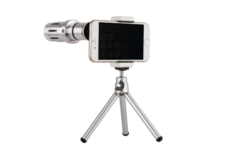 Universal 12X Zoom Mobile Phone Telescope Lens 4in1 lens Telephoto External Smartphone Camera Lens for iPhone Sumsung HTC Huawei 15