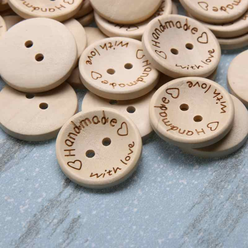 100Pcs 2 Holes Wooden Buttons Handmade Letter Love Scrapbooking For Wedding Dress Clothes Decoration Buttons(15/20/25mm) A30