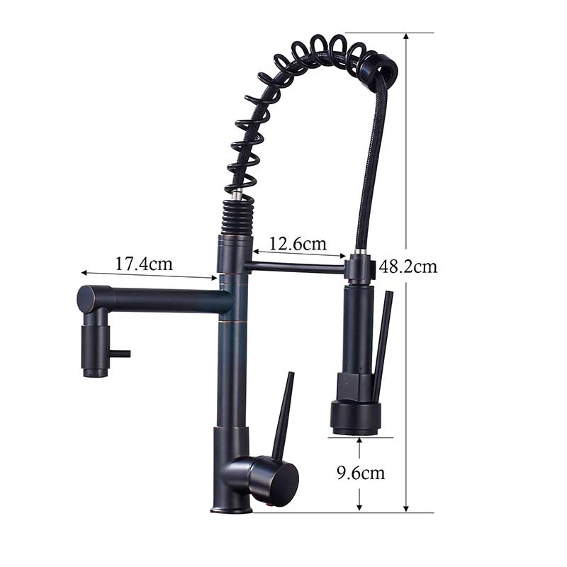 Blacken-Spring-Kitchen-Faucet-Pull-out-Side-Sprayer-Dual-Spout-Single-Handle-Mixer-Tap-Sink-Faucet