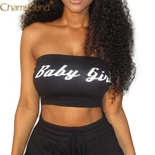 Newly Design BABY GIRL Letter Print Women Girls Sexy Black Cropped Tube Tops Club Bar Tank Tops 80712(China)