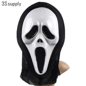 Funny Full Face PVC Realistic Scary Horror Mask Halloween Death Ghost Witch Grimace Scream Masks Party Mask Cosplay Costume Prop face mask