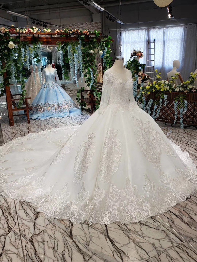 LS53710-1 luxury wedding dresses long sleeve o neck open back ball gown bridal dress up gowns 2019 promotion vestido de noiva (4)