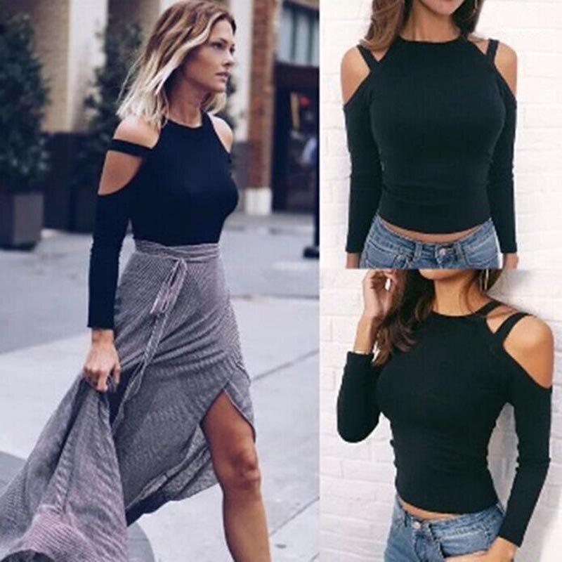 Women Off Shoulder Slim Fit T-shirt Long Sleeve Sexy T-shirts Basic Autumn Tops AIC88